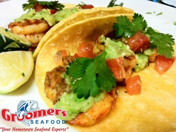Texas Gulf Shrimp Tacos with Avocado Tomatillo Salsa